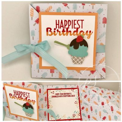 Diagonal Fold Birthday Card made with Cool Treats Stamp Set