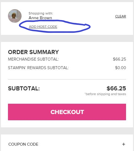 how do I add a host code to a stampin up online order
