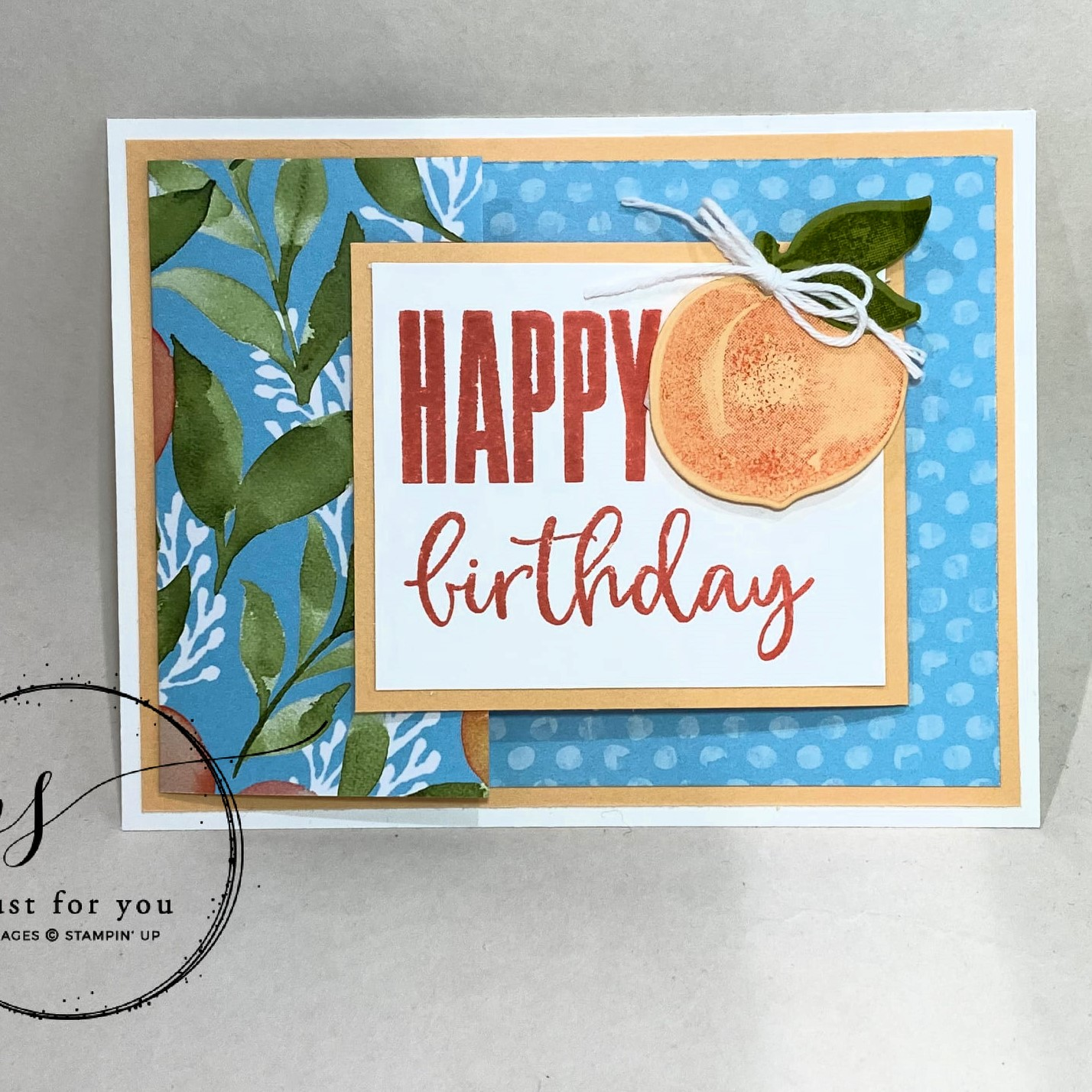 birthdaycard using Stampin' Up sweet as a peach stamp set